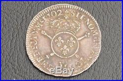 Louis XIV demi ecu aux insignes 1702 W