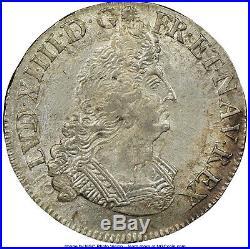 Louis XIV demi-écu palmes 1696 X Amiens SPL+ NGC MS-64 plus bel exemplaire connu
