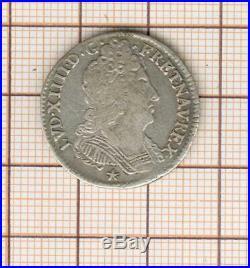 Louis XIV dixième 1/10 è d'écu argent aux 3 couronnes 1713 N Montpellier