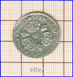 Louis XIV dixième d'écu aux 3 couronnes 1715 W Lille