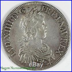 Louis XIV, écu à la mèche courte, 1644 rose A Paris