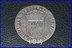 Louis XIV ecu a la meche longue de Navarre 1655 V