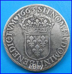 Louis XIV écu au buste juvénile 1er type 1663 L Bayonne
