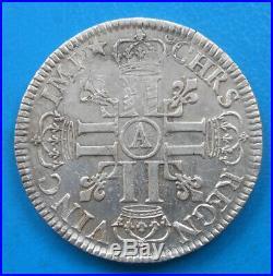 Louis XIV écu aux huit 8 L, 1er type, 1690 A Paris, flan réformé