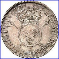 Louis XIV ecu aux insignes 1702 Paris Flan neuf Superbe exemplaire rare qualité