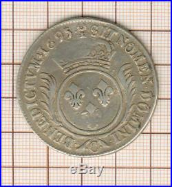 Louis XIV écu aux palmes 1695 C Caen