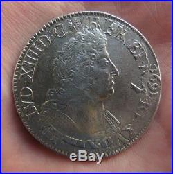 Louis XIV écu aux palmes en argent 1694 atelier A réformé ref306