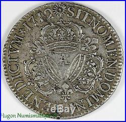 Louis XIV, écu aux trois couronnes, 1712 A Paris
