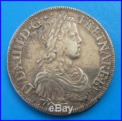 Louis XIV écu de Béarn à la mèche longue, 1651 Pau