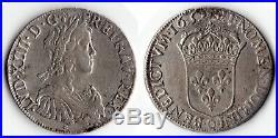 Louis XIV ecu meche longue 1652 O Riom RARE 2728 exemplaires