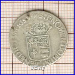 Louis XIV rare écu de Navarre Béarn 1655 Morlaas