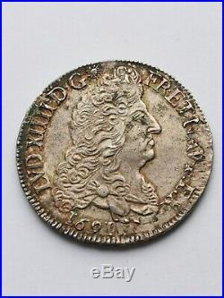 Louis XIV, superbe 1/2 écu argent au 8 L, 1691 H (rare)