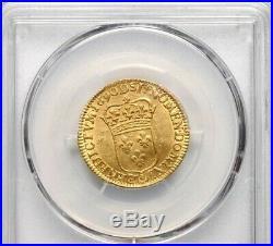 Louis d'or Louis XIV Type dit à l'écu 1690 D LYON PCGS UNC R SPL EX DR. MORGAN