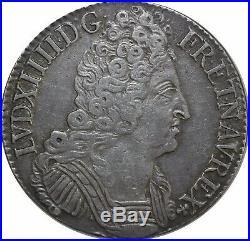 M2370 RARE Ecu Louis XIV Aux 3 Couronnes 1710 X Amiens Argent Silver TTB++