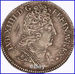 M4420 RARE 1/10 Ecu Louis XIV 3 couronnes 1715 G Poitiers Silver Argent SUPERBE
