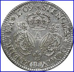 M8164 RARE Ecu 3 couronnes Louis XIV 1709 A Paris Argent Silver SUPERBE FO