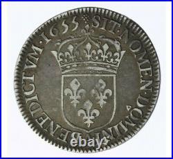 Monnaie, France, 1/2 écu à la mèche longue, Louis XIV, Argent, 1655, Paris (A)