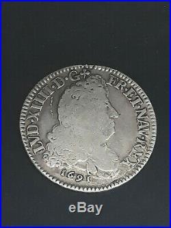 Monnaie France 1/2 écu aux 8 L Louis XIV Flan reformé 1691 S Reims Argent