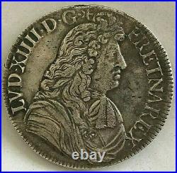 Monnaie Royale En Argent De Louis XIIII Ecu A La Cravate 1679 L Bayonne Rare