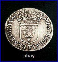 Monnaie Royales Louis XIV Écu À La Meche Longue 1648 Angers