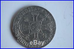 Monnaie argent Demi-écu aux 8 L Louis XIV 1704 2e type Flan réformé 1694 (32401)