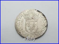 Monnaie argent Ecu Louis xiv a la mèche Longue 1648 T Nantes