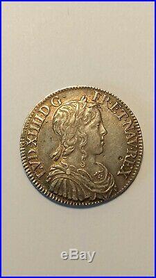 Monnaie royale Demi-écu Louis XIV à la mèche longue 1655 A Paris TTB+