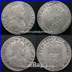 Monnaie royale Ecu + demi écu mèche longue 1652 O Riom très rare 2728ex