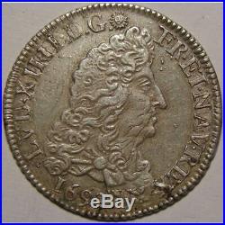 Monnaie royale, Louis XIV, 1/4 d'écu aux 8 L, 1692 9 Rennes Royales Françaises L