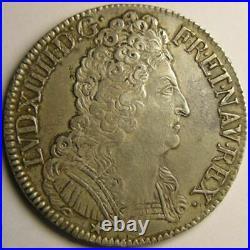 Monnaie royale, Louis XIV, écu aux 3 couronnes 1710 N Montpellier Royales França