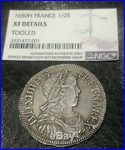 Monnaie royale argent DEMI ECU MECHE LONGUE LOUIS XIV 1650 H (LA ROCHELLE)