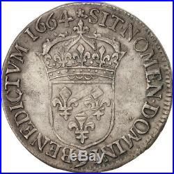 Monnaies, France, Louis XIV, 1/2 Écu au buste juvénile, 1664, Rennes #19325