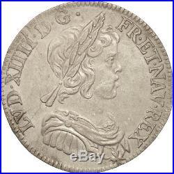 Monnaies, France, Louis XIV, 1/4 Écu à la mèche courte, 1644, Paris #18981