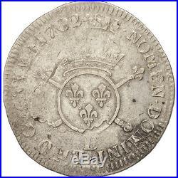 Monnaies, France, Louis XIV, 1/4 Écu aux insignes, 1702 E, Tours #47319