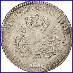 Monnaies, France, Louis XIV, Écu aux 3 couronnes, 1709, Paris, TTB #16561