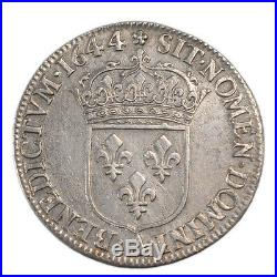 Monnaies, LOUIS XIV, 1/4 Écu à la mèche courte, 1644, Paris, KM #20650