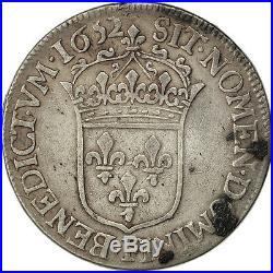 Monnaies, Louis XIV, 1/2 Ecu à la mèche longue 1652 Angers, KM 164.7 #27099