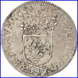 Monnaies, Louis XIV, 1/2 Ecu à la mèche longue 1654 Nantes, KM 164.20 #27989