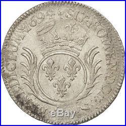 Monnaies, Louis XIV, 1/2 Ecu aux palmes 1694 Dijon, KM 295.16 #28022