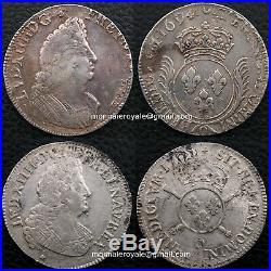 Monnaies royales Louis XIV écu aux palmes + demi écu aux insignes Riom très rare