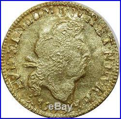 O2500 RARE Louis d' or gold au 4 L Louis XIV 1693 1699 B Rouen Réf écu