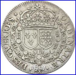 O3856 RARE Jeton Louis XIV Ordinaires Guerres Écus France Navarre 1650 Argent
