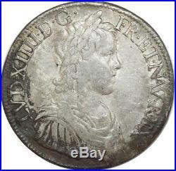 O6123 Rare Ecu Louis XIV à la mêche longue 1652 A Paris Argent Silver -F offre