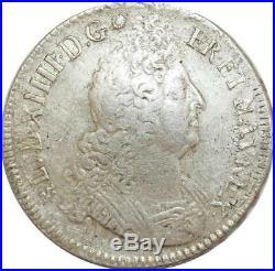 O6124 Rare Ecu Louis XIV aux insignes 1701 9 Rennes Argent Silver -F offre