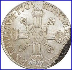 O6125 Rare R4 Ecu Louis XIV 8 L 1705 9 Rennes Argent Silver Flan Neuf -F offre