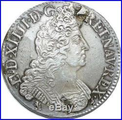 O6126 Rare R4 Ecu Louis XIV 8 L 1705 9 Rennes Argent Silver Flan Neuf -F offre