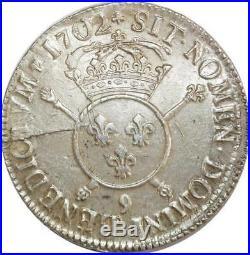 O6129 Rare Ecu Louis XIV 1702 9 Rennes Argent Silver Qualité! -F offre