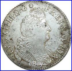 O6132 Rare 1/2 Ecu Louis XIV 8 L 1705 B Rouen Argent Silver -F offre