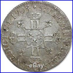 O6138 Rare 1/4 Ecu Louis XIV 8 L 1705/4 9 Rennes Argent Silver -F offre