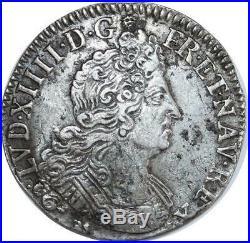 O6139 Rare 1/4 Ecu Louis XIV 8 L 1705 9 Rennes Argent Silver -F offre